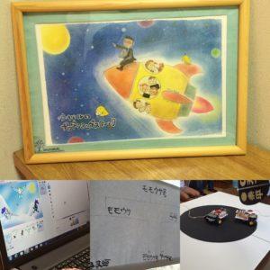 夏休みの電子相撲イベントと、スクールをイメージして描いていただいたパステル画